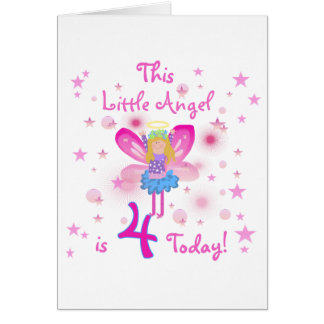 Little Angel 4th Birthday T-shirts and Gifts Greeting Card