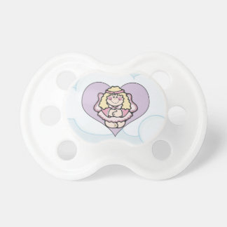 Little Angel and Pink Heart with Cloud Background Baby Pacifiers