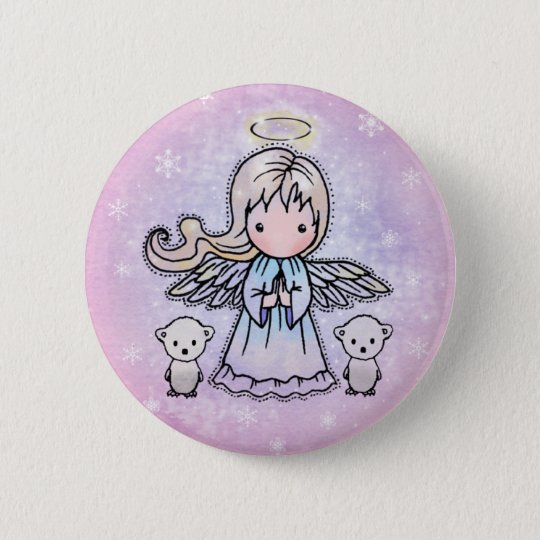 Little Angel and Polar Bears Pinback Button