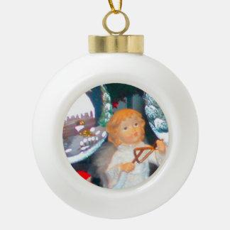 Little angel ceramic ball christmas ornament
