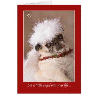 Little Angel Christmas Pug Card