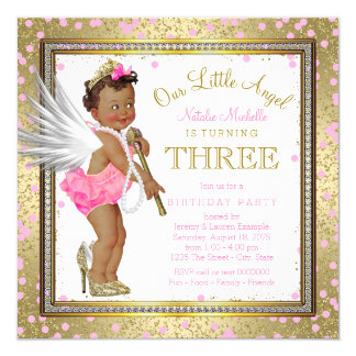 Little Angel Ethnic Girls 3rd Birthday Party 13 Cm X 13 Cm Square Invitation Card