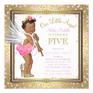 Little Angel Ethnic Girls 5th Birthday Party 13 Cm X 13 Cm Square Invitation Card