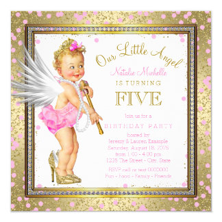 Little Angel Girls 5th Birthday Party 13 Cm X 13 Cm Square Invitation Card