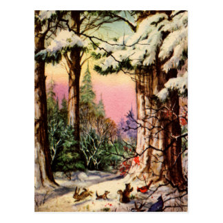 Little Animals in the Snow Postcard