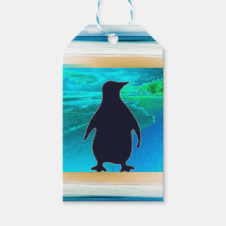 Little Aqua Blue Penguin Gift Tag