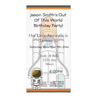 Little Astronaut & Spaceship Birthday Photo Cards
