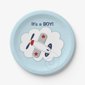 Little Aviator Airplane Baby Shower Paper Plate 7 Inch Paper Plate