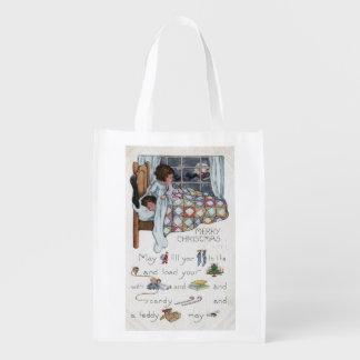 Little Awaken Girl Spies Santa and Sleigh Reusable Grocery Bag