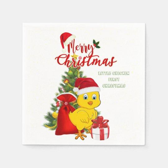 Little Baby Chicken Christmas Disposable Serviette