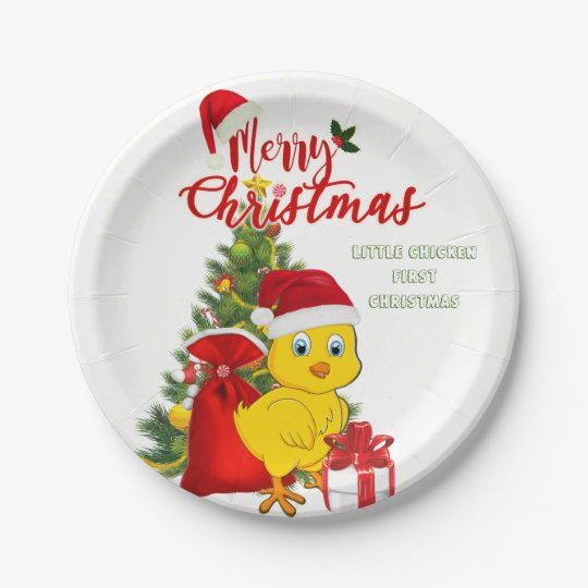 Little Baby Chicken Christmas Paper Plate
