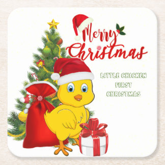 Little Baby Chicken Christmas Square Paper Coaster