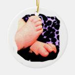 Little Baby Feet, Purple Leopard Background Christmas Tree Ornament