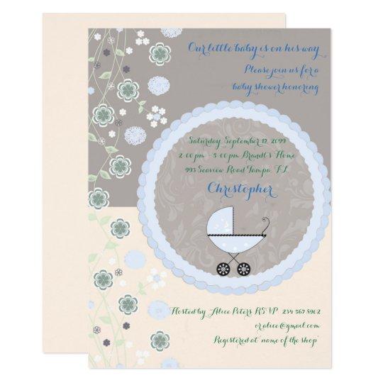 Little Baby Shower BOY Invitation,trendy,chic. Card