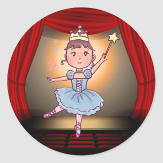 Little Balerina in Blue With Crown on Stage Round Sticker