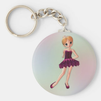Little Ballerina 2 Basic Round Button Key Ring