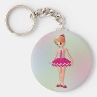 Little Ballerina Basic Round Button Key Ring