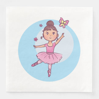 Little Ballerina in Pink Wih Butterfly Disposable Serviettes