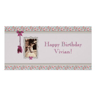 Little Ballerina Photo Frame Pink Party Banner Posters