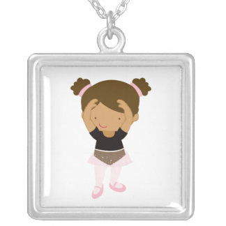 Little Ballerina Square Pendant Necklace