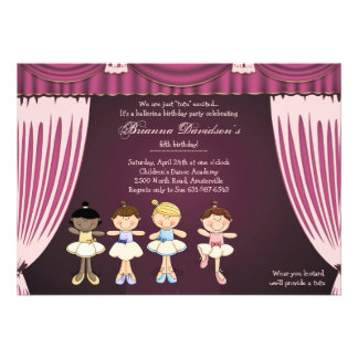 Little Ballerinas on Stage Invitation