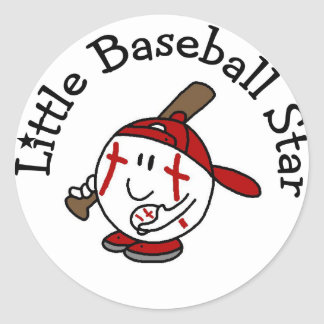 Little Baseball Star Tshirts and Gifts Round Sticker