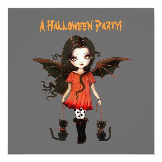 Little Bat Girl Vampire Gothic Cats Halloween Card