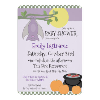 Little Bat Halloween Baby Shower Card
