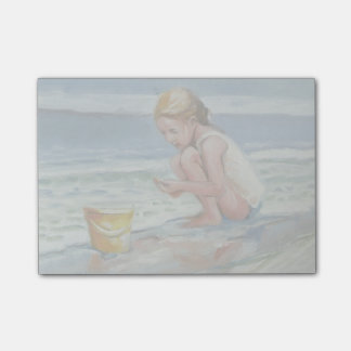 Little beachcomber girl with yellow bucket post-it® notes