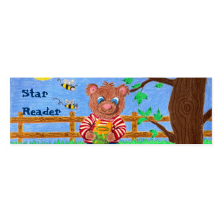 Little bear with honey, Star Reader mini bookmarks Pack Of Skinny Business Cards