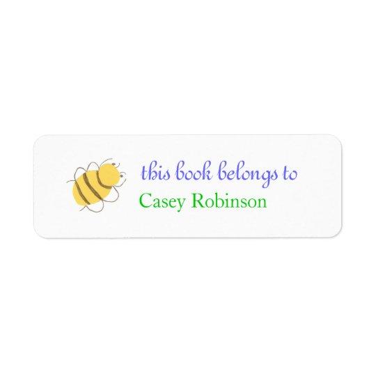Little bee personalised bookplate