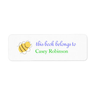 Little bee personalized bookplate return address label