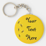 Little Bees Basic Round Button Key Ring