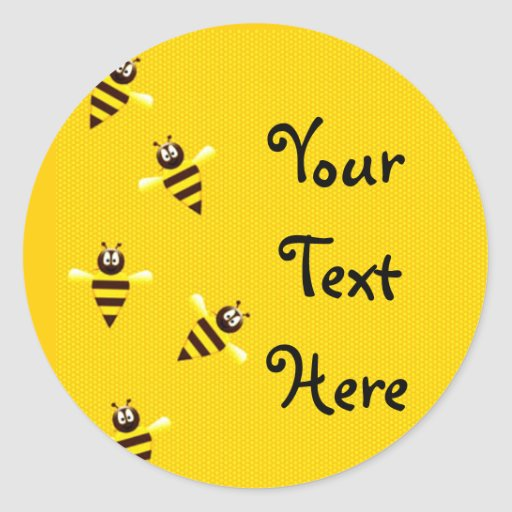 Little Bees Round Stickers