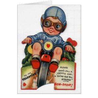 Little Biker Boy Vintage Valentine Greeting Card