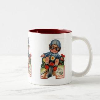 Little Biker Boy Vintage Valentine Two-Tone Mug