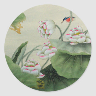 LITTLE BIRD AND LOTUS JAPANESE VINTAGE ROUND STICKER