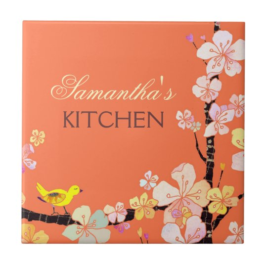 Little Bird and Sakura Flowers Kitchen Trivet Deco Small Square Tile