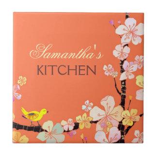 Little Bird and Sakura Flowers Kitchen Trivet Deco Ceramic Tiles
