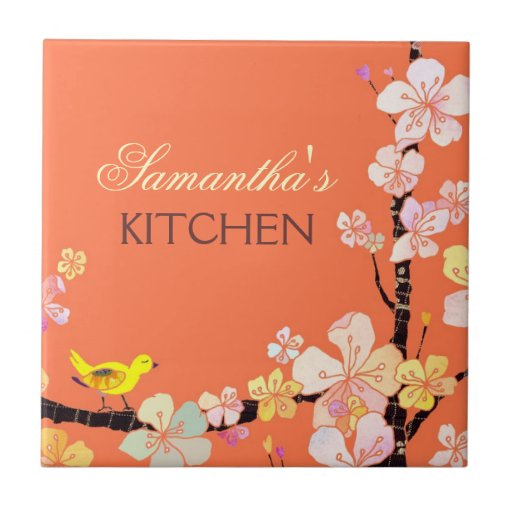 Little Bird and Sakura Flowers Kitchen Trivet Deco Small Square Tile