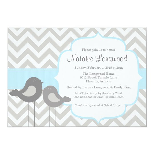 Little Bird Chevron Baby Shower Invitation