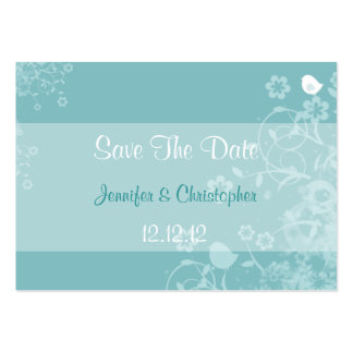Little Bird Floral - Teal & White Business Card Template