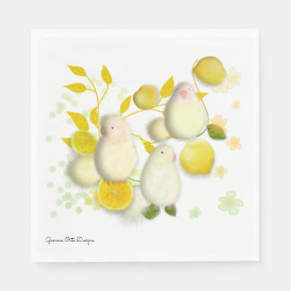Little bird Lovebirds with lemons paper napkin. Disposable Napkins