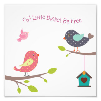 Little bird poster for baby girls and girls