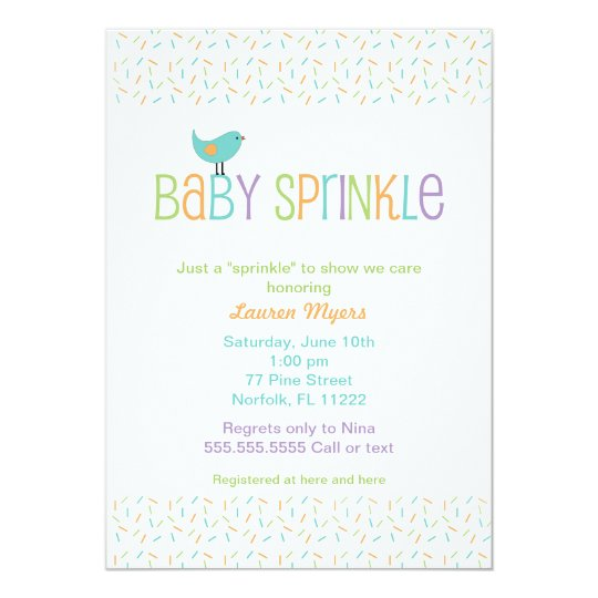 Little Bird Sprinkle Baby Shower Invite Neutral