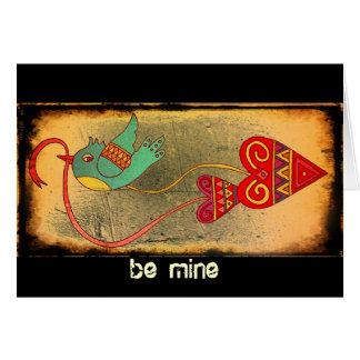Little Bird Valentine Ukrainian Folk Art Card