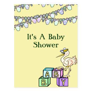 Little Birdie Baby Shower In Yellow Postcard