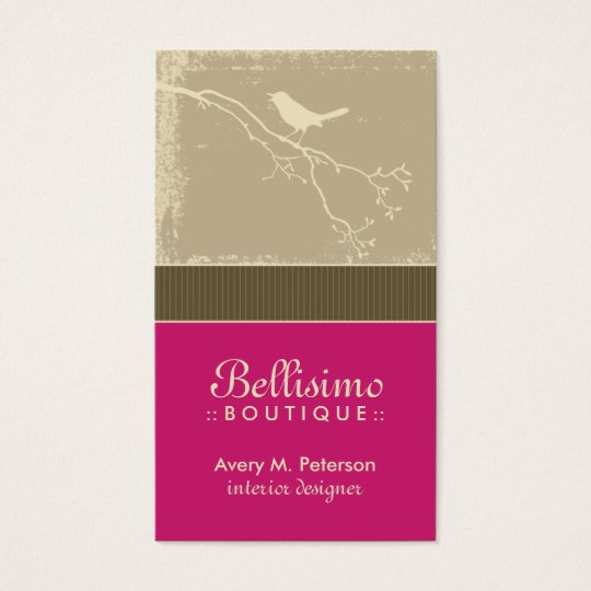 Little Birdie Custom Business Cards (fuchsia)