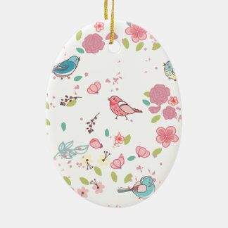 Little Birdie Pink and Blue Whimsical Girly Ceramic Oval Decoration
