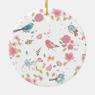 Little Birdie Pink and Blue Whimsical Girly Ornament